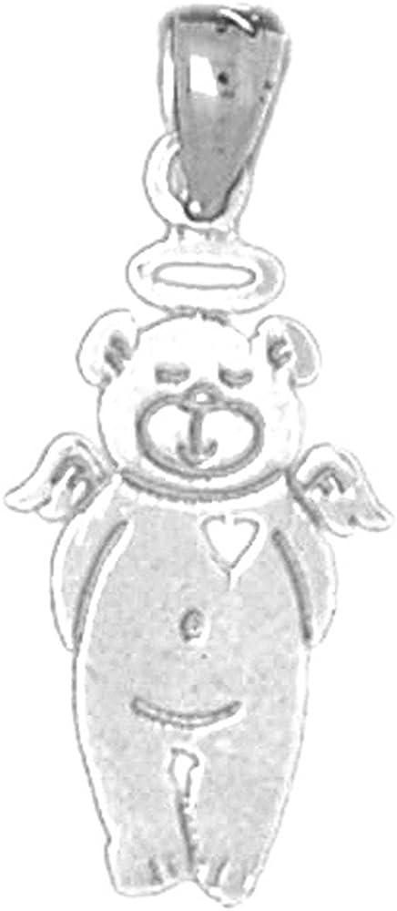 Jewels Obsession Teddy Bear Pendant 24 mm Sterling Silver 925 Teddy Bear Pendant