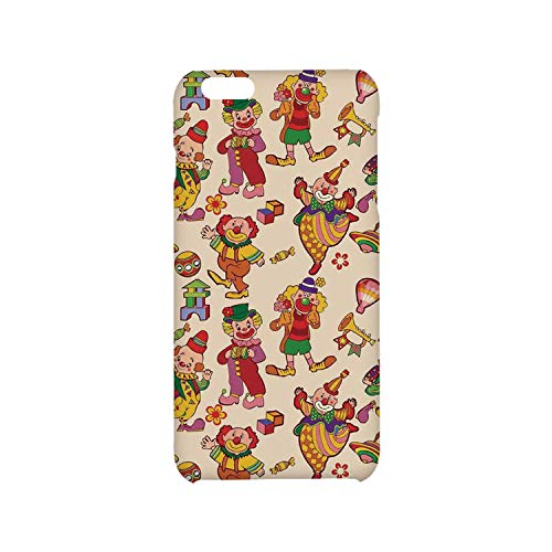 Circus Decor Utility Phone Case,Cartoon Circus Patterns Comedian Musical Toy Pleasure Hot Air Balloon Compatible with iPhone 6 plus/6s Plus