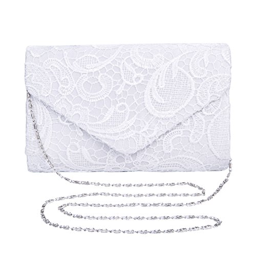 Chichitop Women's Elegant Floral Lace Envelope Clutch Evening Prom Handbag Purse, (Ivory Handbag Purse)