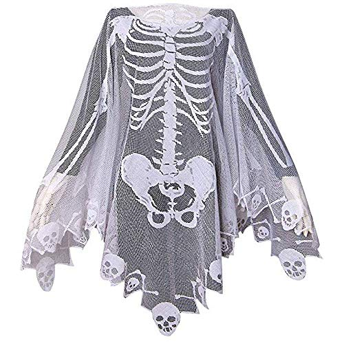 Super Creative Halloween Costumes (Halloween Costumes for Women Lace Skeleton Poncho Plus Size 57x57 inch)