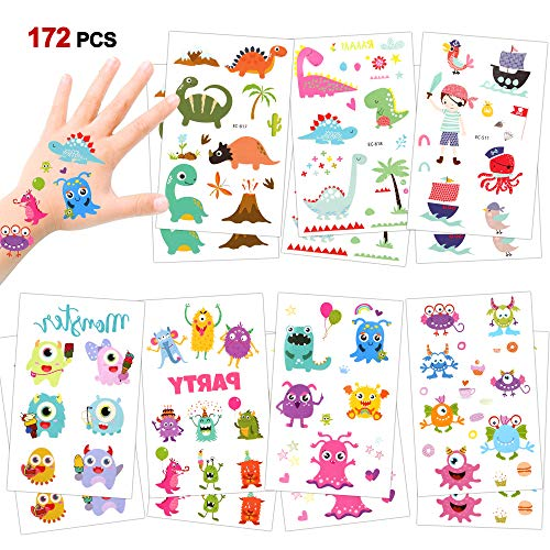 Temporary Tattoos For Kids(172pcs), Konsait Monsters Pirate Dinosaur Assorted Temporary Tattoos For Boys Girls Children Great Kids Party favors Accessories Goodie Bag Stuffers Party Fillers -