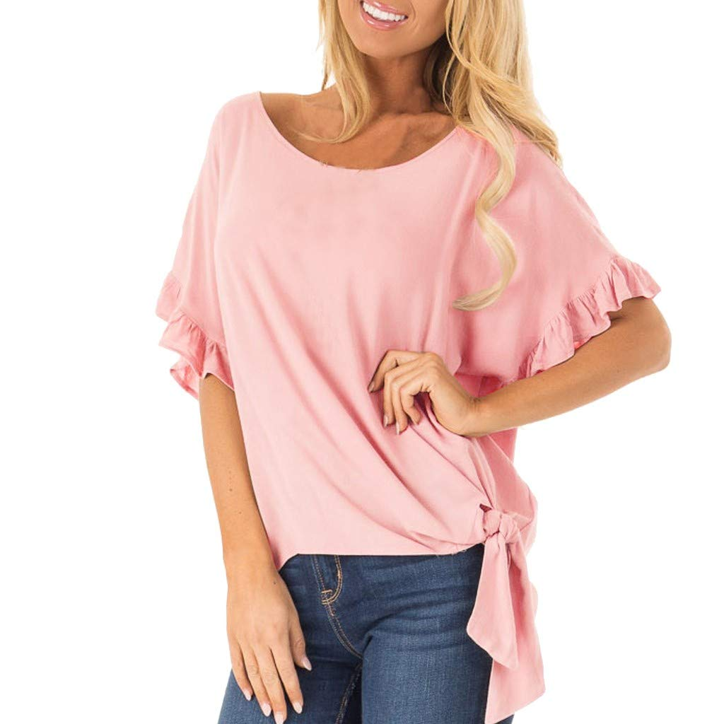 Hot! Womens Blouses Deals Ladies Flounce Sleeve O-Neck Lace up Casual T-Shirt Top Pink