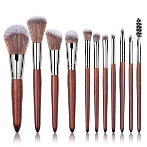 ASKITO Makeup Brushes Set 11 Pcs Professional Synthetic Cosmetic Brushes Set Wooden Handle Makeup Brush Foundation Face Powder Blush Eyeshadow Concealer Blending Brush