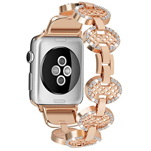 - Snado Bling Bands Compatible Watch Band 38mm, Adjustable Design, Rhinestone Jewelry Bracelet Compatible Watch Series 3, Series 2, Series 1, Sport, Edition (Rose Gold 38mm)