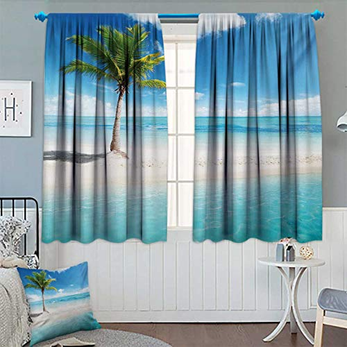 - Chaneyhouse Ocean Window Curtain Fabric Idyllic Scenery Seashore Picture Sun Rays View with Palm Tree Tropical Beach Drapes for Living Room 72