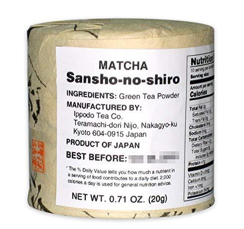 Kyoto Ippodo Matcha (Japanese Green Tea Powder) - Balanced Taste between Rich and Smooth - Sansho-no-shiro (20g Can)