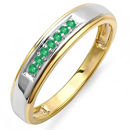 Dazzlingrock Collection 0.12 Carat (ctw) 18K Yellow Gold Plated Silver Round Emerald Men's Seven Stone Wedding Band, Size 9