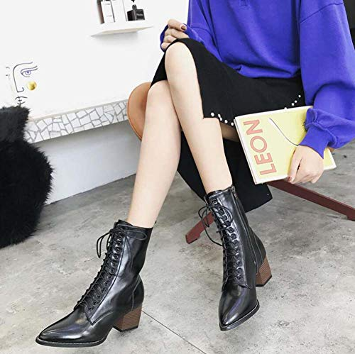 Ol Cremallera Caballero Tamaño Zapatos Bota 6cm 34 Ue Botines Puntas Tacon Martin 40 Corte De Sexy Botín Black Pie Cruz Mujeres Correas O6n67Ux