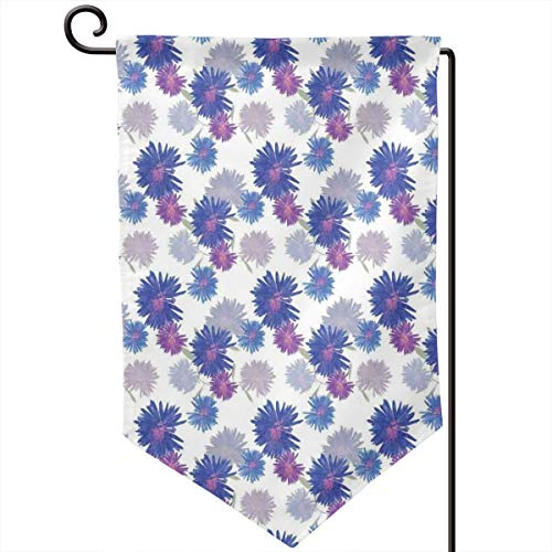 lsrIYzy Garden Flag,Michaelmas Daisy Pattern with Blossoming Flowers Nature Growth Composition,12.5x18.5 inch