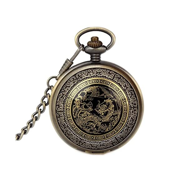 Classic Mens Smooth Vintage Steel Mens pocket watch with Gift Chain for Xmas Fathers Day Gift 4