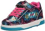 Heelys Girls' Dual up x2 Sneaker, Black/Cyan/Multi, 3 M US Little Kid