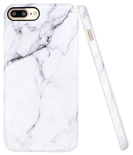 sale retailer d3fbe 895b5 iPhone 8 Plus Marble Case, iPhone 7 Plus Case, A-Focus IMD Design White  Marble Pattern Stone Texture Soft Flexible TPU Slim Fit Cover Case for  iPhone ...