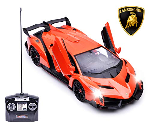 (Haktoys Licensed Lamborghini Veneno Roadster 1:14 Scale Sports RC Car Realistic Car Sound & Detailed Design | Head/Rear Lights | Slide-Up/Scissor Doors | Battery Operated & Pre-Assembled (Orange))