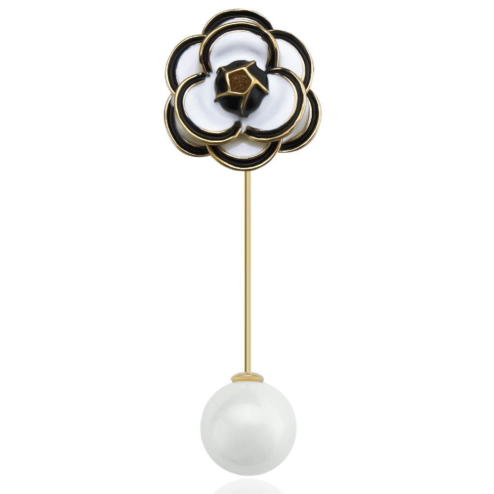 sourjas Fashion Jewelry Gold-tone Enamel White Flower Pearl Handmade Boutonniere Brooches Pin for Suit