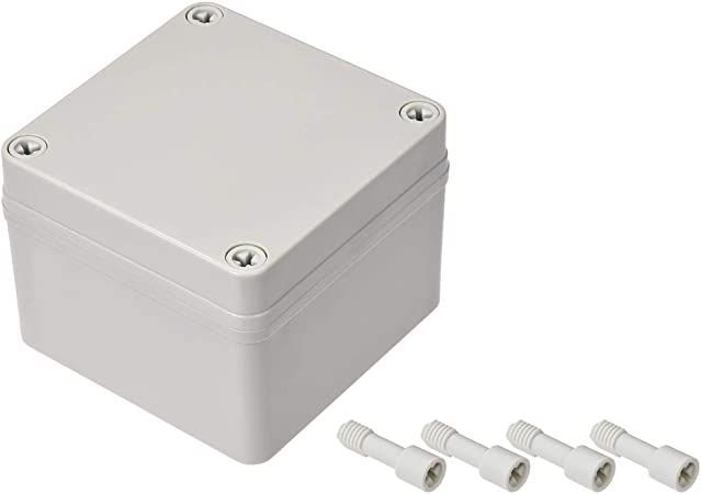 YXQ Electrical Junction Box Waterproof Outdoor Enclosure Squre Power Wire Hole with Cover Dustproof DIY Case ABS White 3.3 x 3.3 x 2
