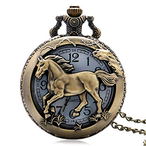 Used, Men Women Pocket Watch, Creative Bronze Horse Quartz for sale  Delivered anywhere in USA