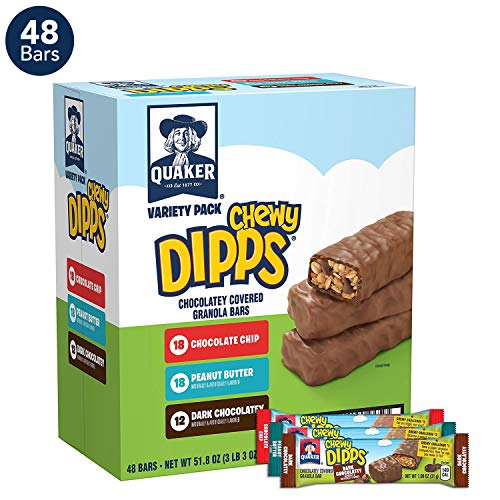 Quaker Chewy Dipps Cholatey Covered Granola Bars, 3 Flavor Variety Pack (48 Bars)