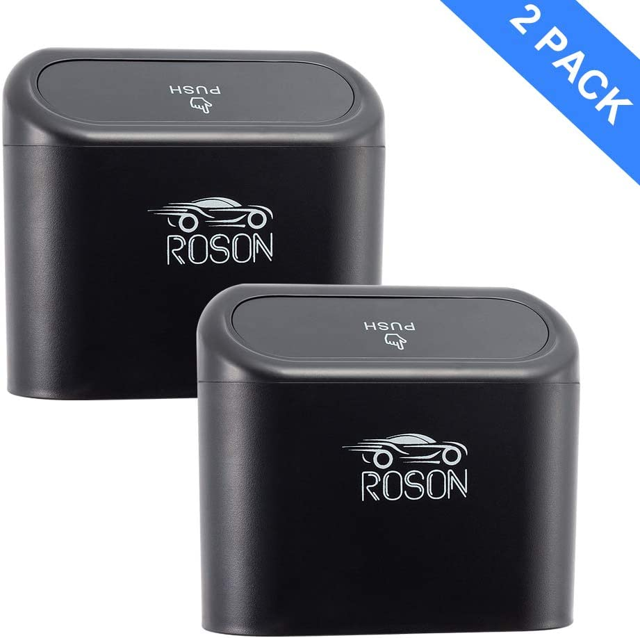 ROSON Mini Car Trash Can with Lid, Portable Hanging Waterproof Car Garbage Organizer and Automotive Storage Pockets Bin for Auto Cars, Home and Office (Black, 2 Pack)