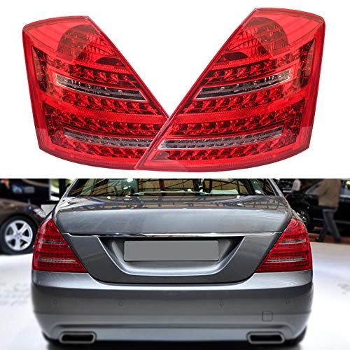 Clidr For Mercedes Benz W221 S Class Red Clear Full LED w/Amber LED Signal Tail Lights Brake Lamp - Class Brake