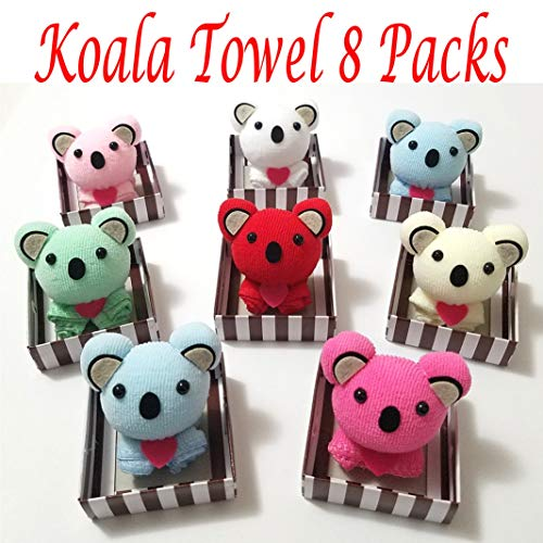 (Koala Shape Folded Towel Kawaii Personalized Wedding Gift Thank You Guest Favor Bridal Shower Baby Showers Birthday Party Flavor Goodie Bags, Perfect Gift Pack of 8)