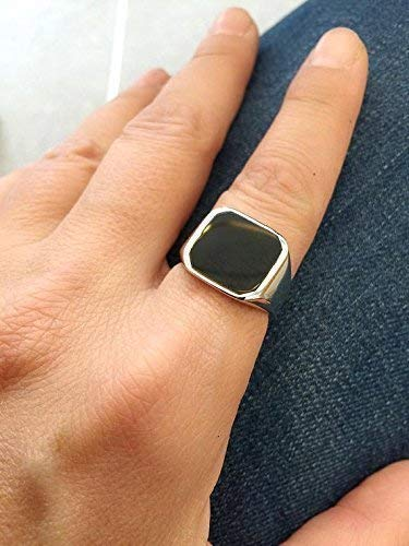 Black Onyx Ring, Signet Pinky Ring, size 8 us, Solid Sterling Silver, Big Square Seal