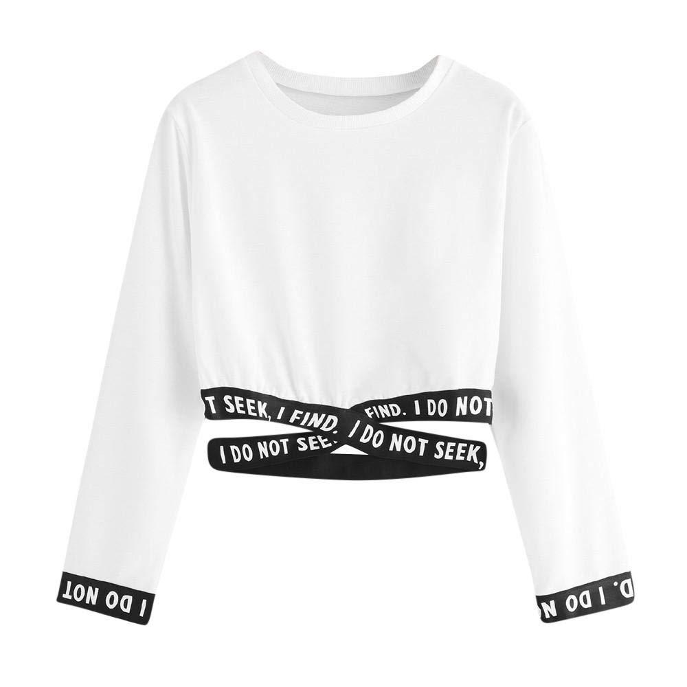 YEBIRAL Pullover Bauchfrei Damen Teenager M/ädchen Sweatshirt Briefdruck Casual Langarm Kurz Crop Tops Oberteile Sweatjacke Shirts Hemd Bluse