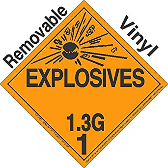 Health And Safety Hazard Sticker Explosive 1.3g Sticker Orange Adhesives, Sealants & Tapes