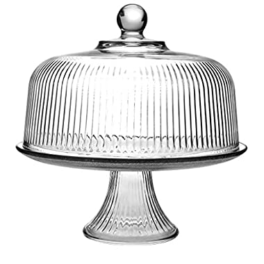 Clear Glass Cake Stand and Dome Set with Ribbed Design