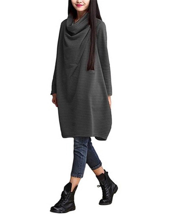MelBedy Women's Cotton Heaps Collar Loose Fit Warm Jumpter Tunic Top Shirt