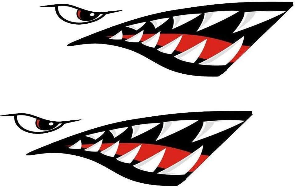 MOOCY 2Pcs Shark Teeth Mouth Reflective Decals Sticker Waterproof DIY Funny Graphics Accessories for Car Kayak Canoe Fishing Boat Truck Jet Ski Hobie Dagger Ocean Boat Decoration