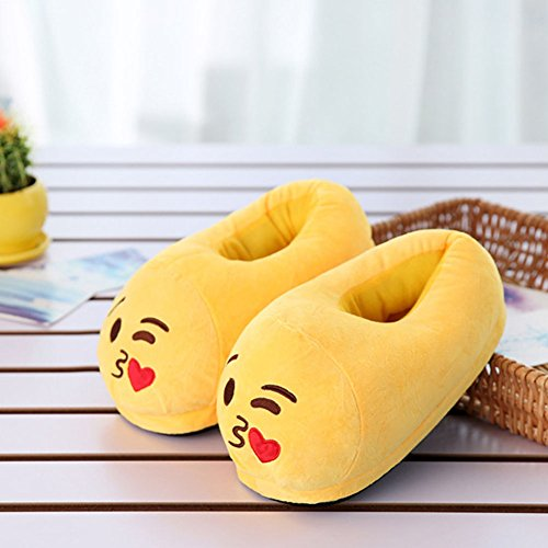 Women For Girl Family Boy JUIOKK Winter Plush Cute color2 Warm Emoji Fluffy Men Slippers Shoes wxFqPOUz
