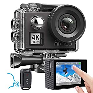 AKASO V50 Elite 4K 60fps Touch Screen WiFi Action Camera Voice Control EIS 40m Underwater Waterproof Camera Adjustable View Angle 8X Zoom Remote Control Sports Camera with Helmet Accessories Kit