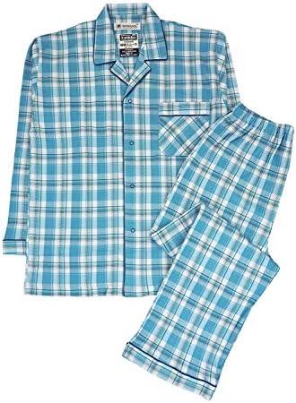 ROWAND(ロワンド)紳士長袖・長パンツパジャマ 綿100% スムース チェック柄 12121