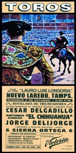 "Plaza Mexico #2 Canvas Art Poster 12/""x 24/"" Bullfighting"