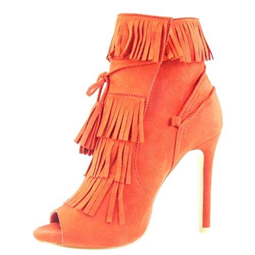 Angkorly - Scarpe da Moda Stivaletti - Scarponcini scarpe decollete stiletto aperto donna frange pon pon merletto Tacco Stiletto tacco alto 11 CM - Rosso