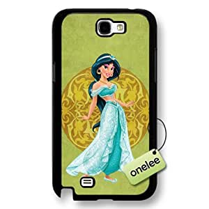 Disney Cartoon Movie Aladdin & Jasmine Hard Plastic Phone Case & Cover for Samsung Galaxy Note 2 - Black
