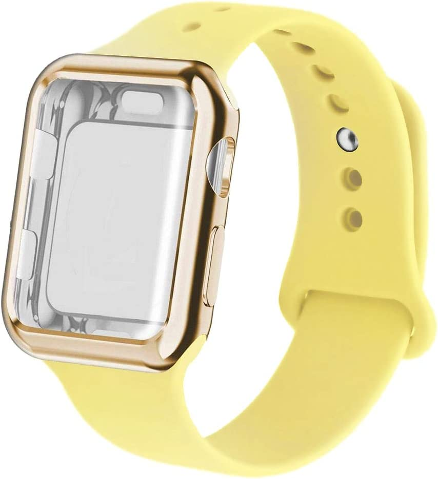 Case and Silicone Band for Apple Watch Series 6 SE 5 4 3 iwatch Band 42mm 38 bacelet watchband Strap for Apple Watch Band 44mm 40mm (38mm SM,Mellow Yellow)