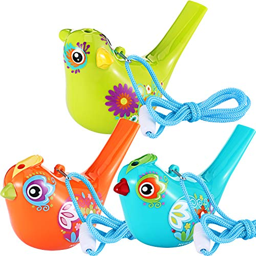 3 Pieces Bird Whistle, Colorful Bird Water Whistle for Bath Toys, Bath Bird Whistle for Kids, Birthday Gift, Easter Gift (3 -