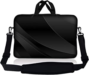 LSS 10 10.2 inch Laptop Sleeve Bag Compatible with Acer, Asus, Dell, HP, Sony, MacBook and more | Carrying Case Pouch w/ Handle & Adjustable Shoulder Strap, Twilight Gray Black