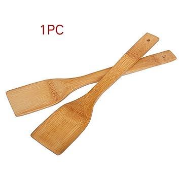 Espátula de madera de bambú con ranuras para mezclar alimentos palas de cocina natural utensilios de cocina suministros de cena ecológicos para sartenes ...