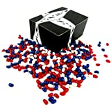 Jelly Belly Patriotic Jelly Beans Variety: One 2 lb Bag of Assorted Red, White, and Blue Jelly Beans in a BlackTie Box