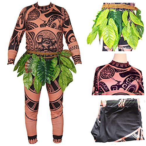 Adult Men Kids Moana Maui T Shirt/Pants Halloween Costume Cosplay Family Matching Outfits (XL DAD) ()