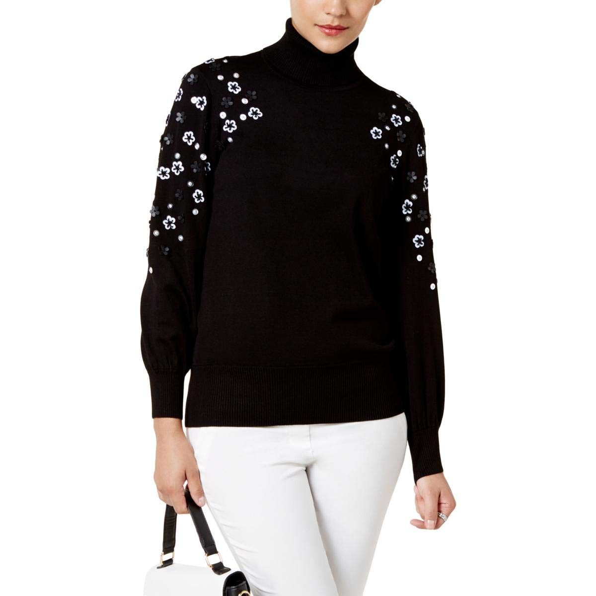 Deep Black Alfani Womens Knit Embellished Turtleneck Sweater