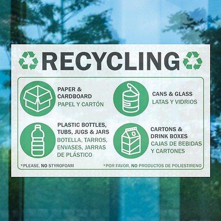 Amazon.com : CGSignLab |Recycling -Bilingual Clear Window Decal | 18