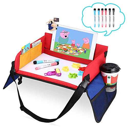 (Kids Travel Tray for Lap, Car Seat, Plane, Stroller - Toddler Travel Activities Table with Organizer,Cup/Tablet Holder, Large Erase Top for Snack and Play, Including 6 Mark Pens for Child Age 3+)