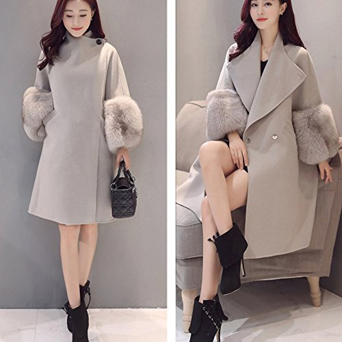 Patchwork Outwear Long Coat Solid Autumn Wildeal Casual Jacket Women Turndown Color Pockets Faux Collar Sleeve Lady Fur Winter Atq8IT