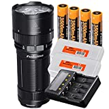 Fenix FD65 3800 Lumens High Performance Focusable Zoomable LED Flashlight, 4x 3500mAh 18650 Rechargeable Batteries, ARE-C2+ Four Channel Battery Charger, 2x Lumen Tactical Battery Organizers