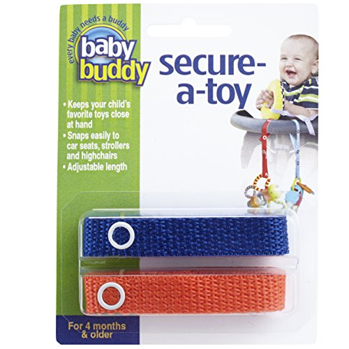 Baby Buddy Secure-A-Toy, Safety Strap Secures Toys, Teether, or Pacifiers to Strollers, Highchairs, Car Seats-Adjustable Length to Keep Toys Sanitary Clean Royal-Orange 2 Count