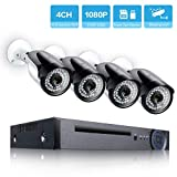 PoE Security Camera System, CANAVIS 4 Channel Full HD 1080P NVR with 4 IP Outdoor Video Surveillance Cameras,115ft Night Vision(No HDD)