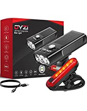DYZI Bike Lights-USB Rechargeable Bike Light Set Easy to Fit & Mount-Waterproof Bicycle Light with Built-in Powerbank for Charging Devices